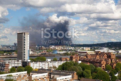 istock Fire in East of London 492457654