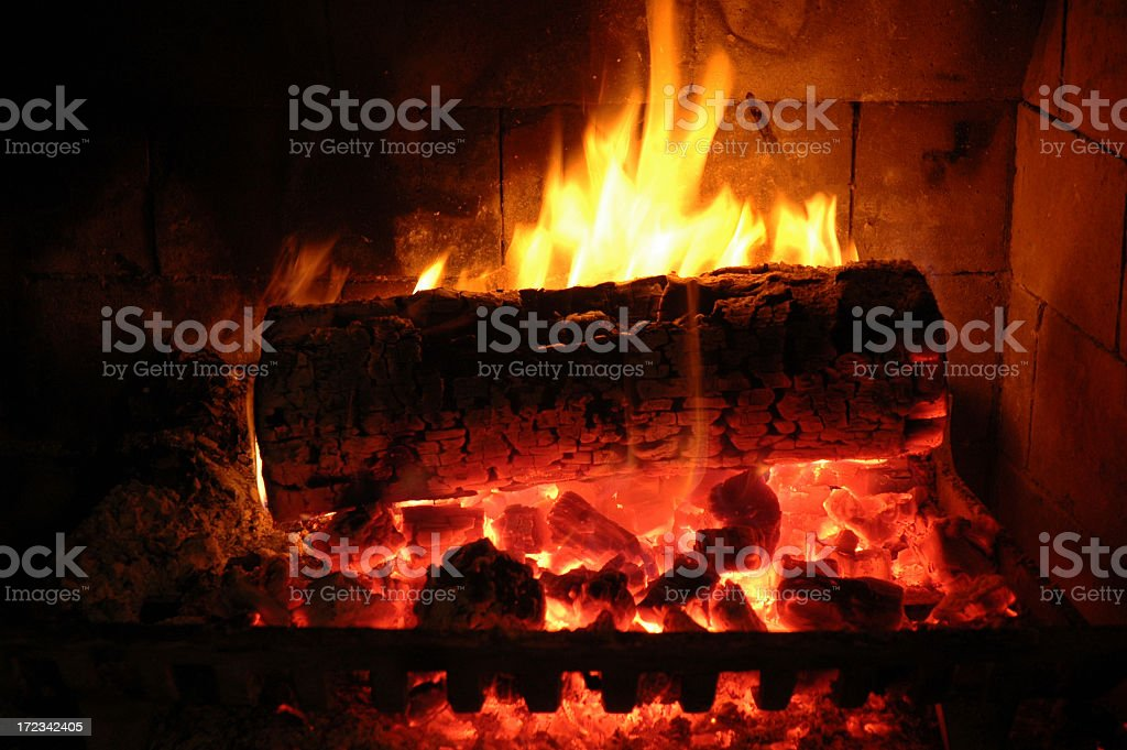 Fire in Fireplace stock photo