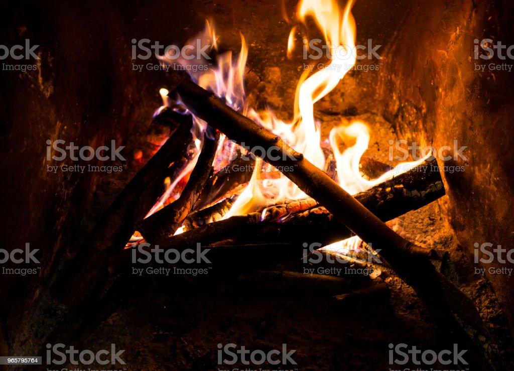 Brand in de haard - Royalty-free Binnenopname Stockfoto