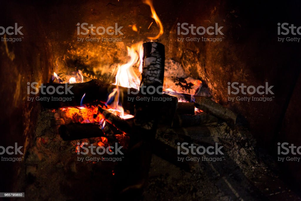 Fire in fireplace - Royalty-free Brightly Lit Stock Photo
