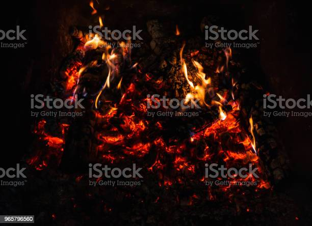 Fire In Fireplace Stock Photo - Download Image Now