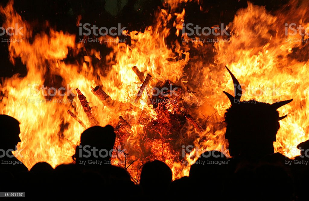 Fire in hell stock photo