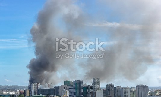 istock Fire in modern city 948106744