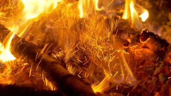 Fire in nature. Bokeh from the fire. Bokeh from the fire. Blurred backgrounds. Space views. Sparks are beautifully flying right at you.