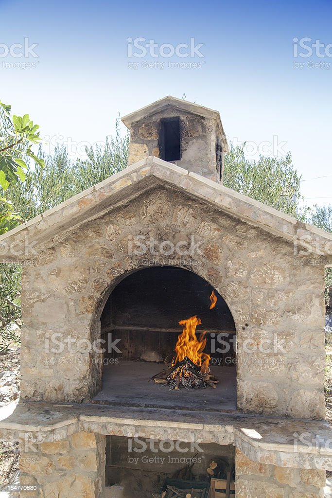Fire in rich bbq fireplace royalty-free stock photo