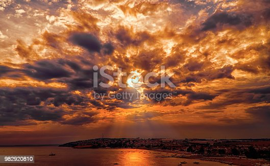 istock Fire in sky dark storm clouds 982920810