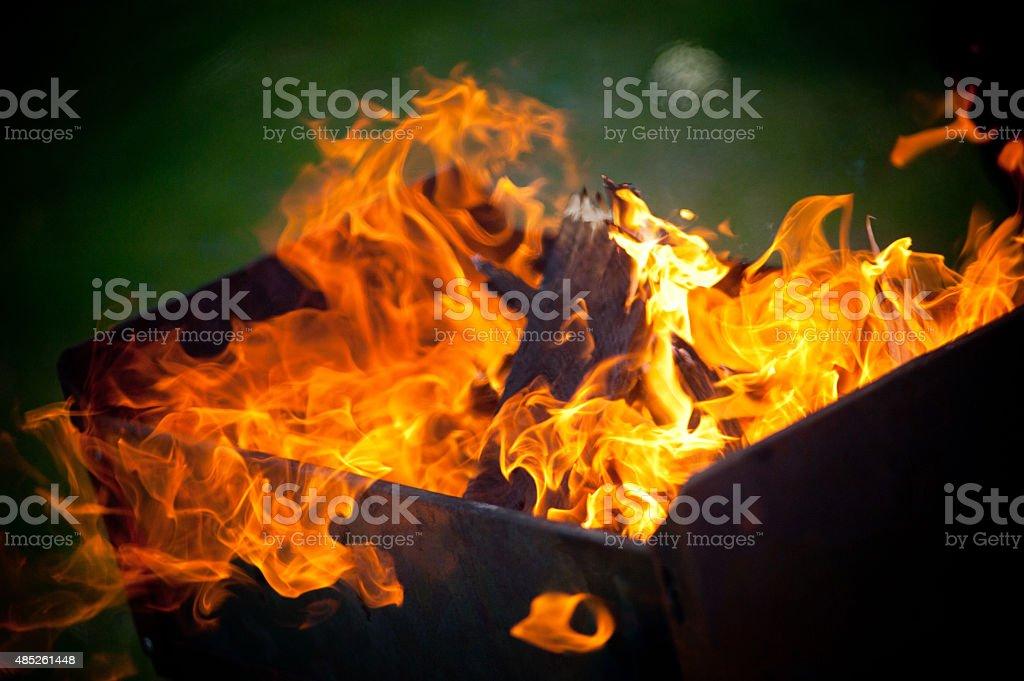 fire in the brazier stock photo