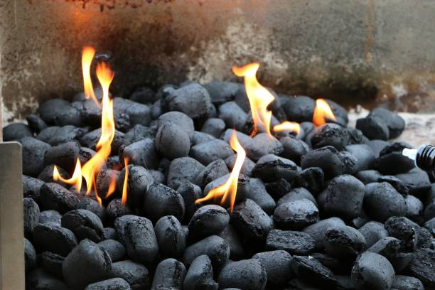fire in the charcoal - coal stock pictures, royalty-free photos & images