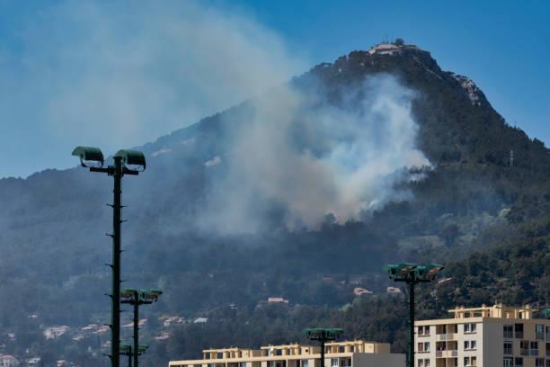 Fire in the Faron Massif, in Toulon, France, stock photo