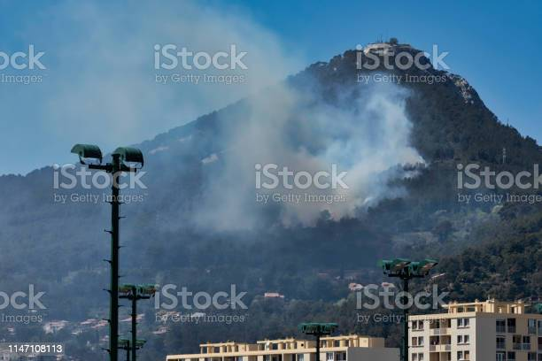 Fire In The Faron Massif In Toulon France Stock Photo - Download Image Now