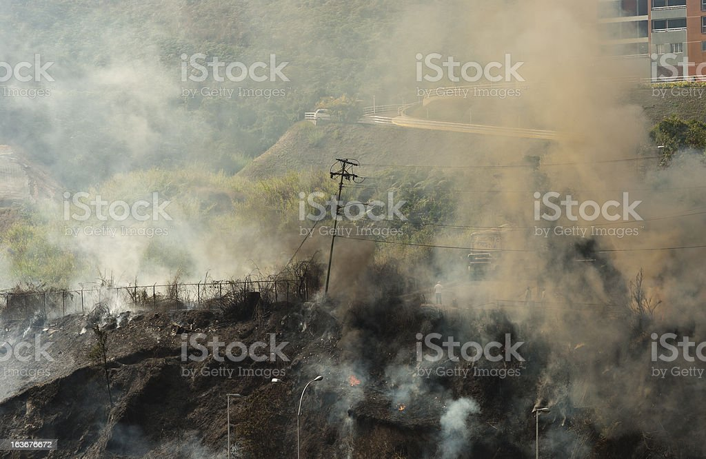 Fire in the hill royalty-free stock photo