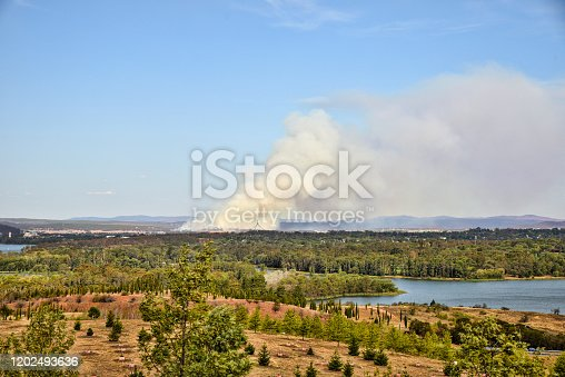 Canberra, Australia, 22 January 2020. In a very dry summer, a new fire has started near Canberra Airport.