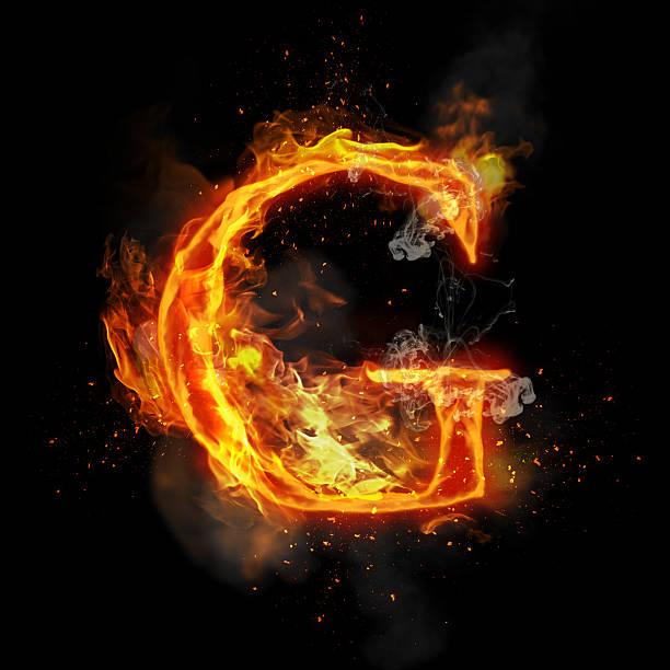 Fire Letter G Of Burning Flame Light Stock Photo