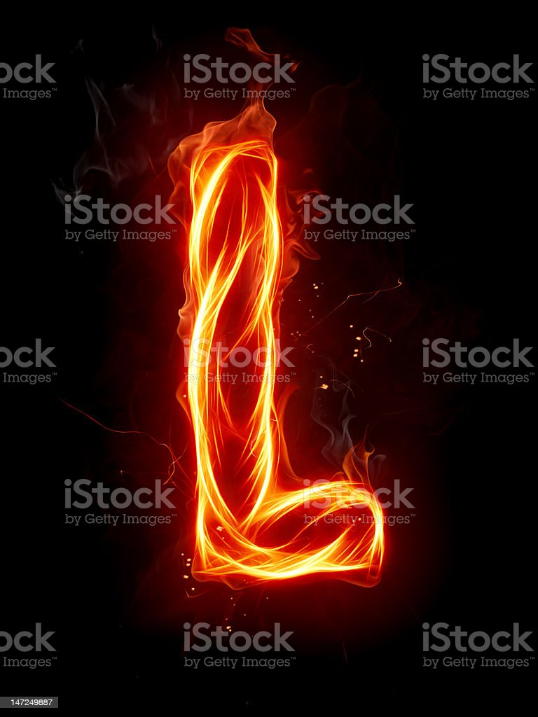 Fire letter L royalty-free stock photo
