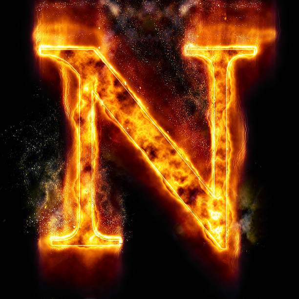Royalty Free Fire Letter N Of Burning Flame Light Pictures Images