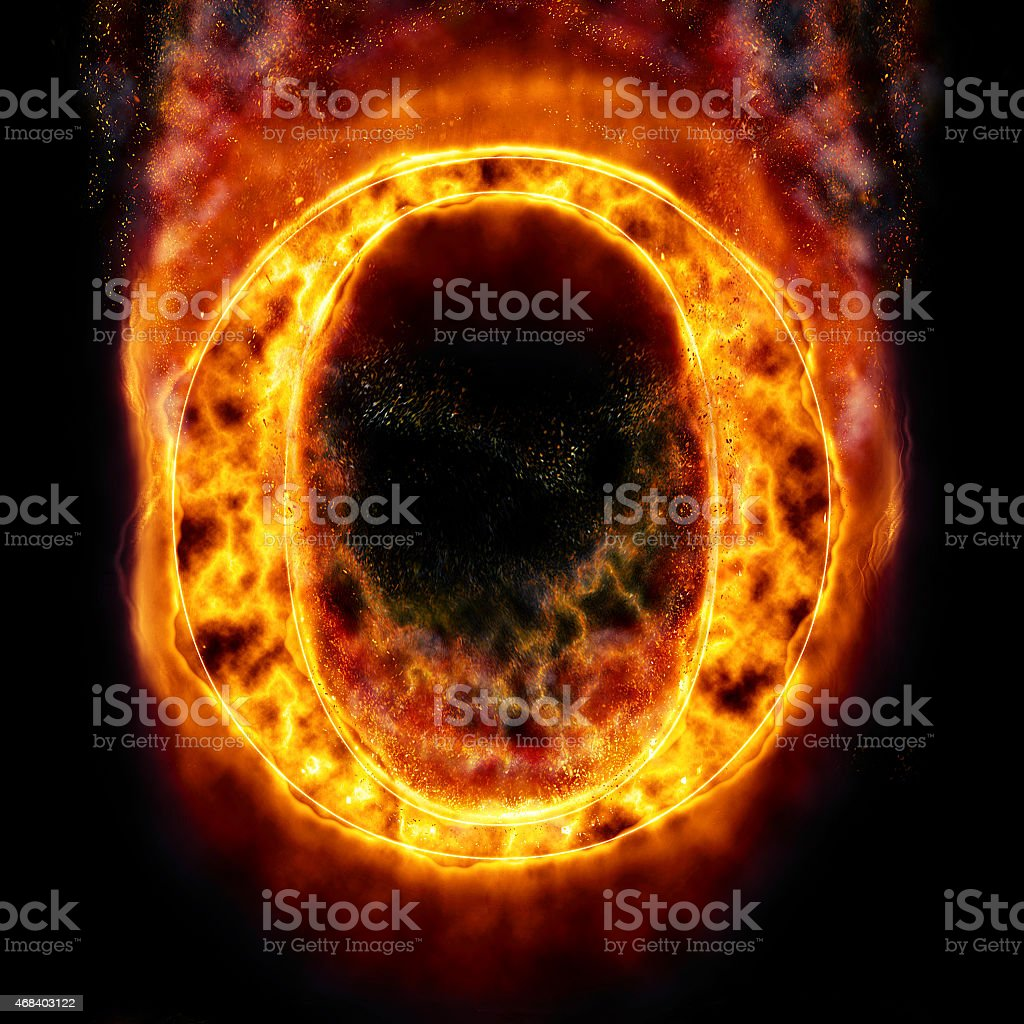 Fire Letter O stock photo