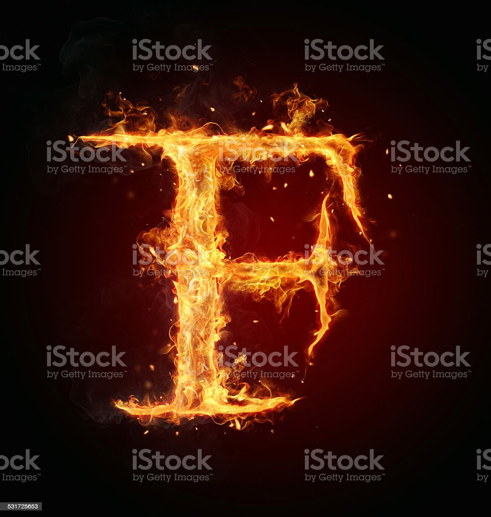 Fire letter on black background stock photo