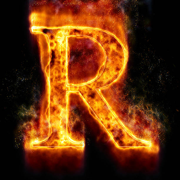 Fire Letter R stock photo