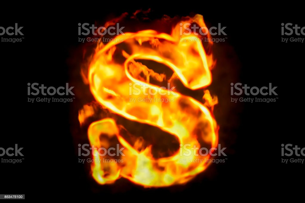 Fire Letter S Of Burning Flame Light 3d Rendering Isolated On Black  Background Stock Photo - Download Image Now