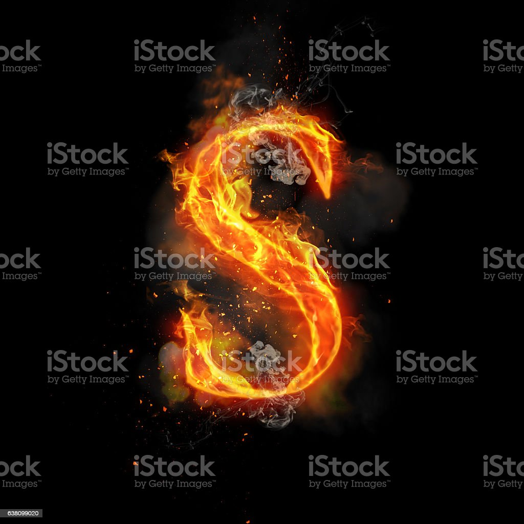 Fire letter S of burning flame light – Foto