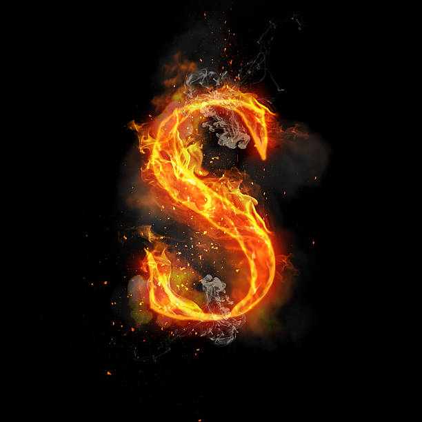 Fire letter S of burning flame light stock photo