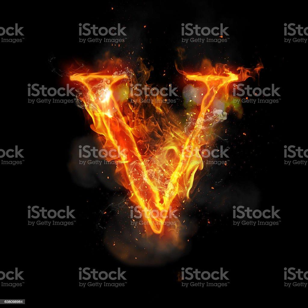 Fire Letter V Of Burning Flame Light Stock Photo