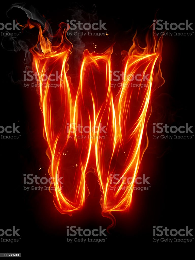 Fire letter W royalty-free stock photo