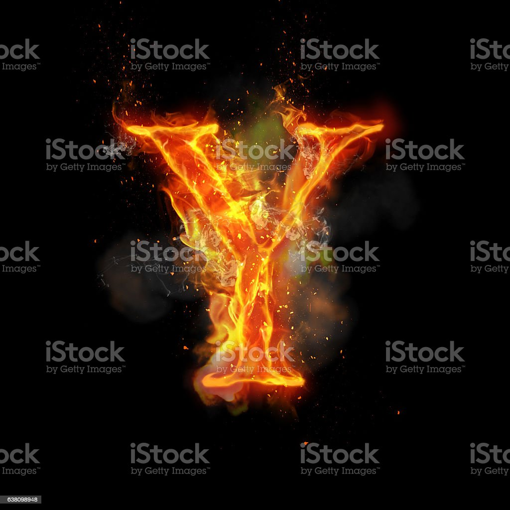 Fire letter Y of burning flame light stock photo