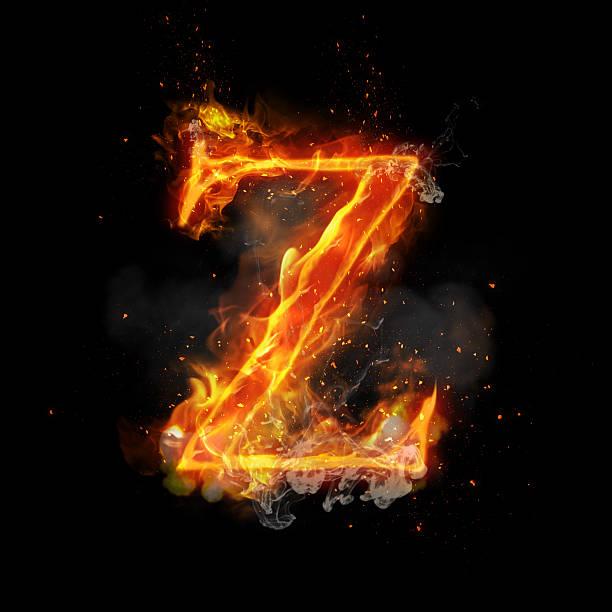 Fire letter Z of burning flame light stock photo