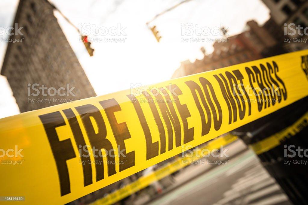 fire line cordon tape on manhattan stock photo