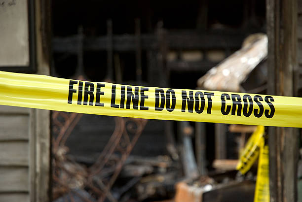 Fire Line - Destoyed Home stock photo