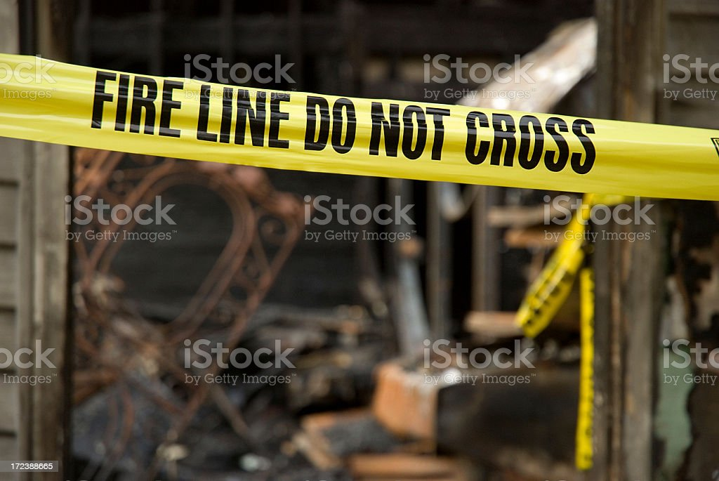 Fire Line - Destroyed Home royalty-free stock photo