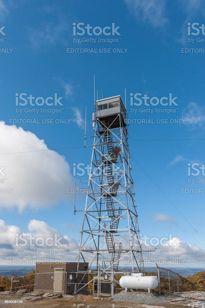 Fire lookout tower at summit of Wachusett Mountain (2006') - Royalty-free Cloud - Sky Stock Photo