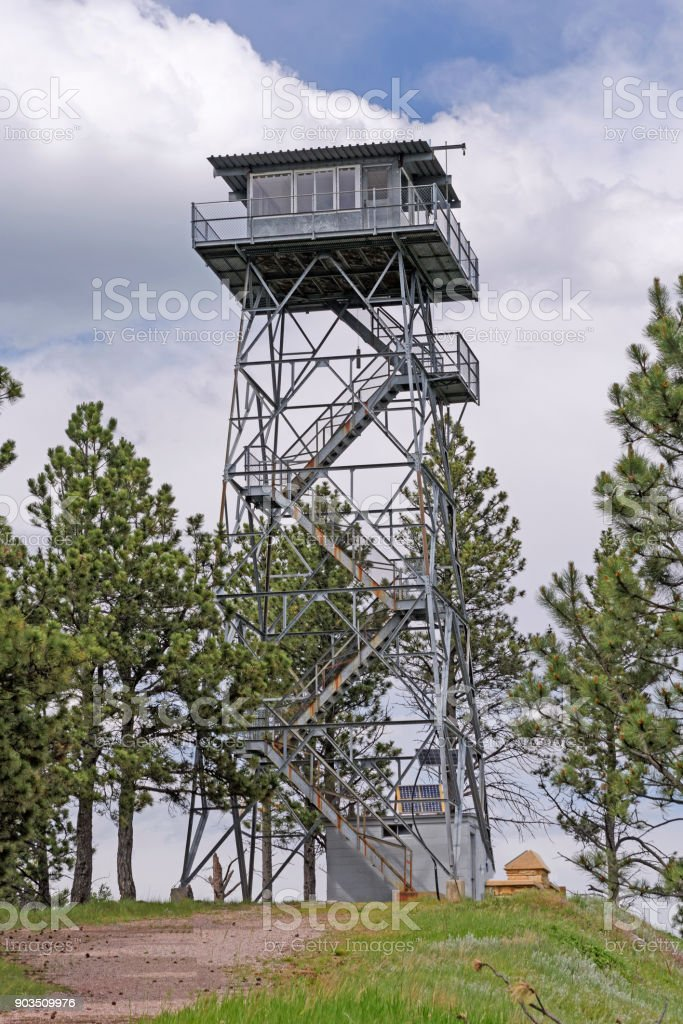 Fire Lookout Tower on a Mountain Top stock photo