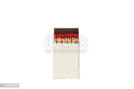 Fire match matchbox on white background.