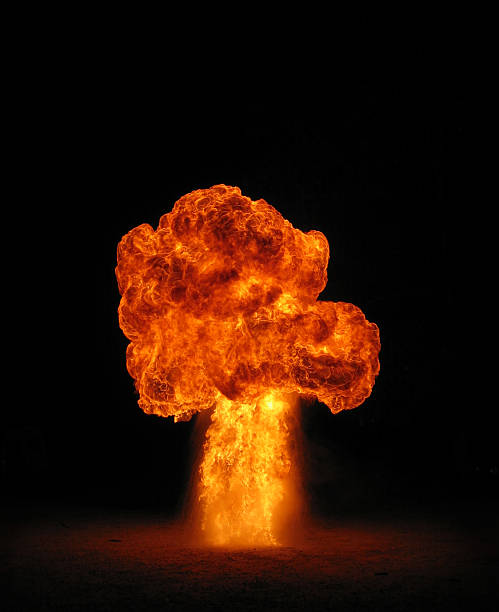 fire mushroom cloud stock photo