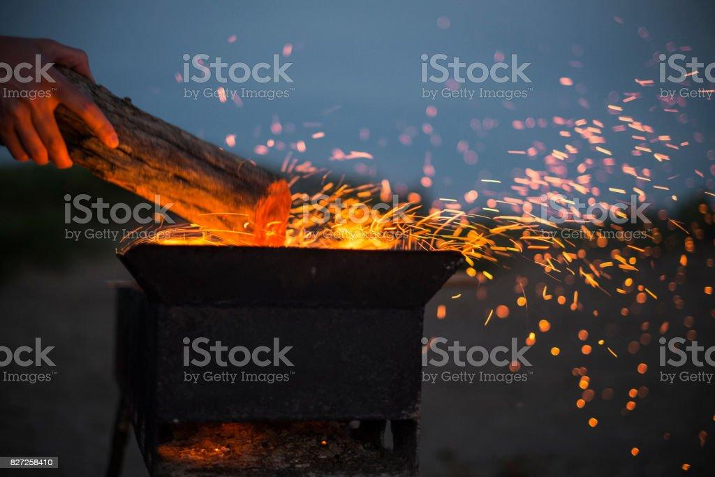 Fire on a beach stock photo