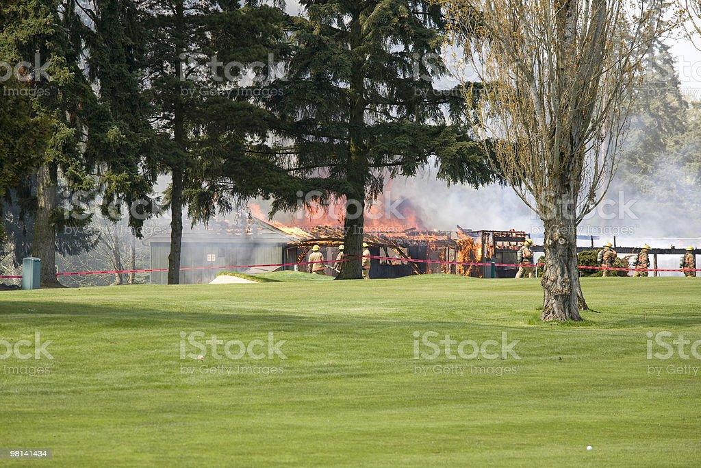 화재 있는 골프 코스 royalty-free 스톡 사진