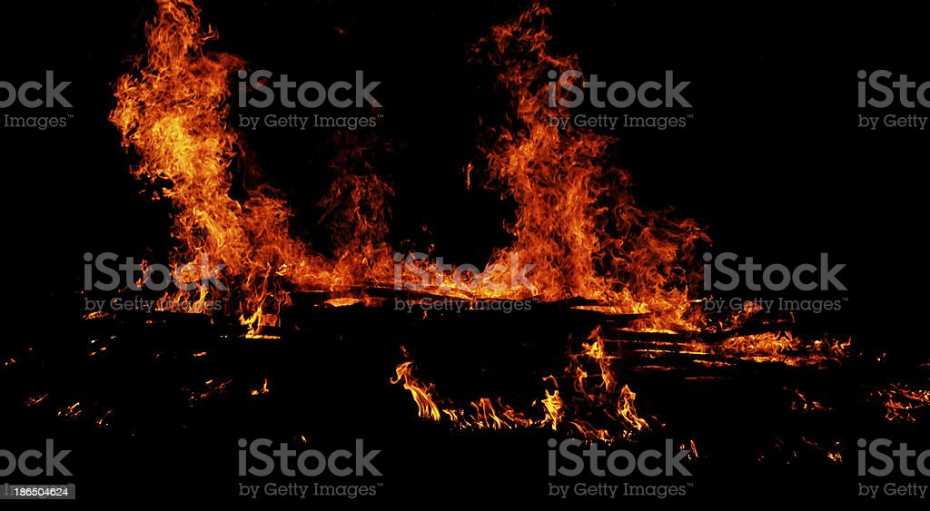 fire on black background royalty-free stock photo