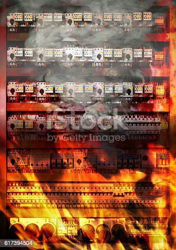 istock Fire on electric board 617394504