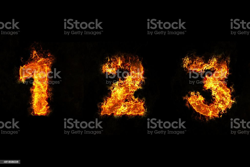 Fire On Number 1 2 And 3 Stock Photo More Pictures Of 2015 Istock