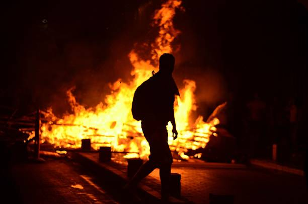 Fire on the street Fire burning on the streets of Istanbul during the clashes between police and demonstrators riot stock pictures, royalty-free photos & images