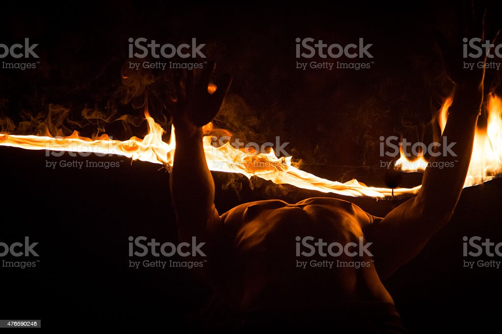 Fire Performer stock photo