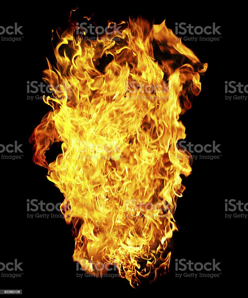 Fire photo on a black background royalty-free stock photo