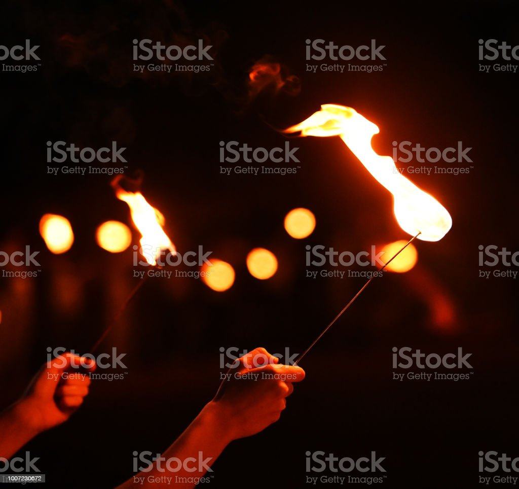 Fire Fire with hand Abstract Stock Photo