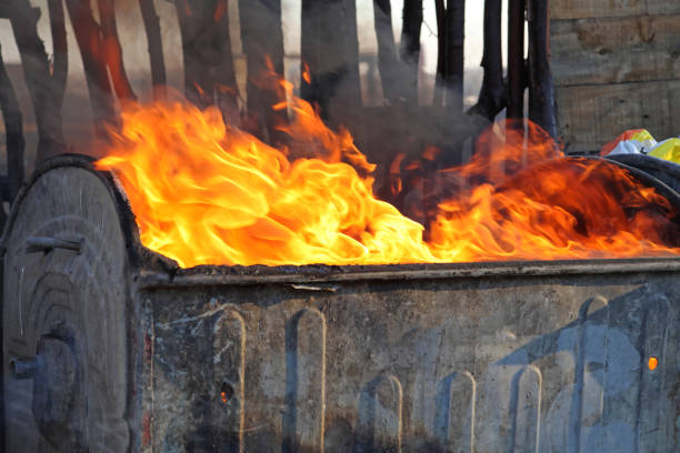Fire Big Fire Inferno Flames From Trash Waste dumpster fire stock pictures, royalty-free photos & images