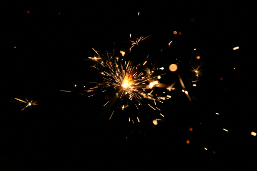 Bengal light, many sparks