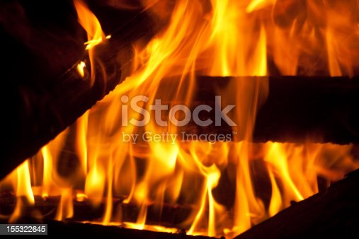 A warm fire showing the flames dancing around