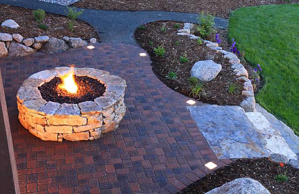 Fire Pit and Backyard Patio stock photo