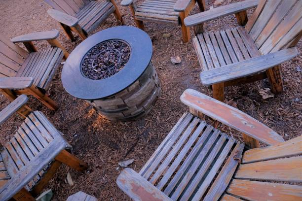 Fire Pit Chairs stock photo